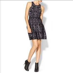 Parker Kiley Dress Damask Gray Black Fit & Flare